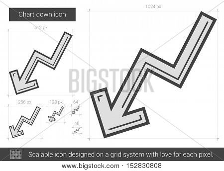 Chart down vector line icon isolated on white background. Chart down line icon for infographic, website or app. Scalable icon designed on a grid system.