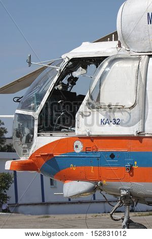 Gelendzhik Russia - September 9 2010: Closeup view of the Kamov Ka-32 rescue helicopter cockpit through the open door