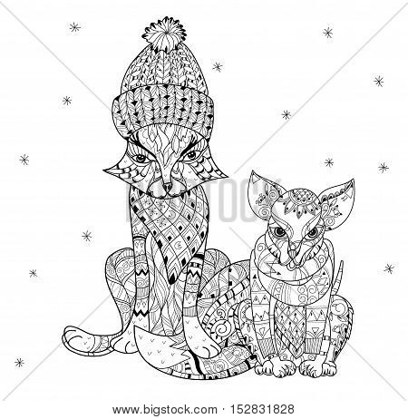 Hand drawn doodle outline dog and fox decorated with ornaments.Vector zen art illustration.Floral ornament.Sketch for tattoo or relax anti stress adult coloring pages.