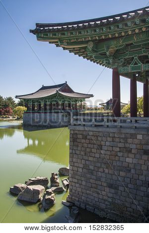View of the Emperor's Palace, Anapji pond. Gyeongju, South Korea.