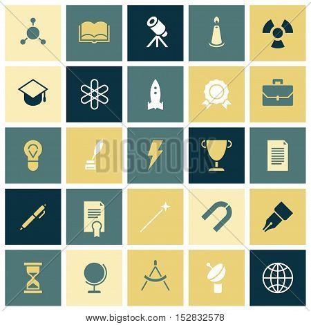 Flat design icons for education and science. Vector illustration.