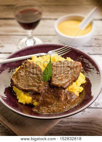 braised meat with  porridge, selective focus