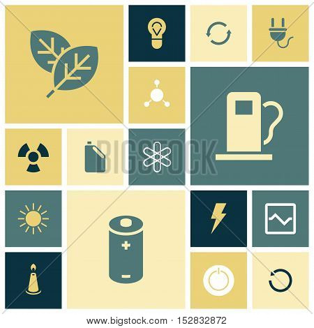 Flat design icons for energy and ecology. Vector illustration.