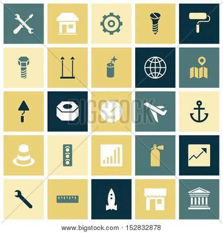 Flat design icons for industrial. Vector illustration.