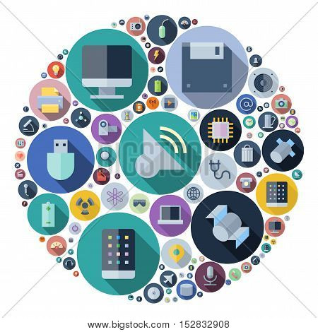 Icons for technology and electronic devices arranged in circle. Vector illustration.