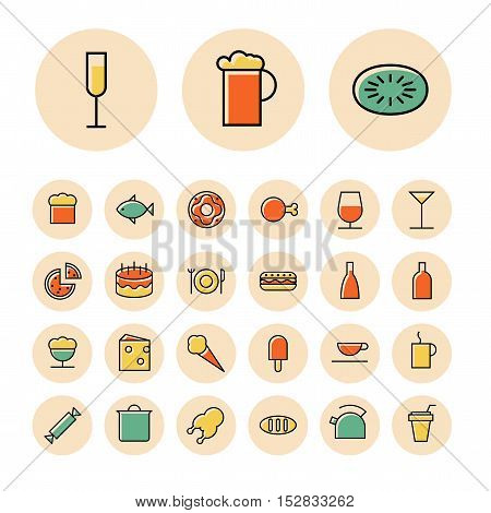 Thin line icons for food and drinks. Vector illustration.