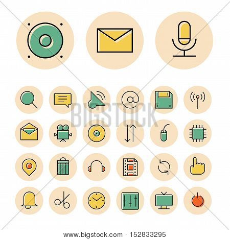 Thin line icons for user interface and technology. Vector illustration.