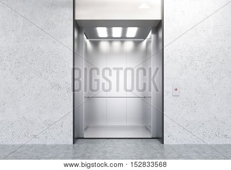 Concrete wall with open elevator in modern office. Concept of working in high building. 3d rendering. Mock up