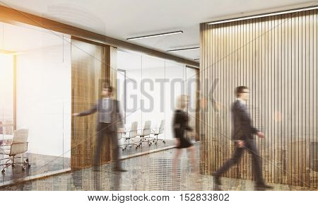 People leaving conference room after the meeting is over. Concept of pointless business routine. 3d rendering. Mock up. Toned image. Double exposure