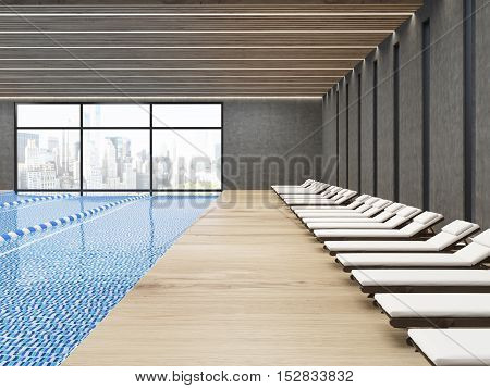 Public Pool With Chaise Longues