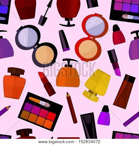seamless flat pattern with perfumery and cosmetics paraphernalia