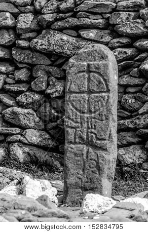 A carved cross ofthe Gallarus Oratory, Ireland;s best preserved early Christian church.  It is over a thousand years old.