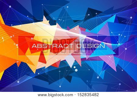 Multicolored triangles, low polygon shapes, blue and orange debris, color mosaic, creative and technology background, vector design wallpaper