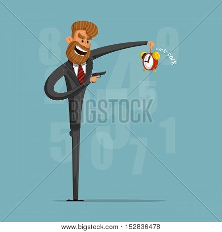 A businessman or manager of killing time with a pistol.