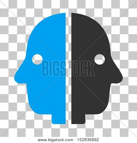 Blue And Gray Dual Face interface toolbar pictogram. Vector pictograph style is a flat bicolor symbol on chess transparent background.