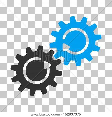 Blue And Gray Gear Mechanism Rotation interface toolbar icon. Vector pictograph style is a flat bicolor symbol on chess transparent background.