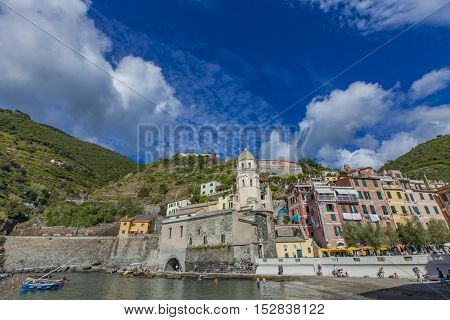 VERNAZZA, ITALY - SEPTEMBER 19, 2016: Unidentified people at Vernazza Italy. It is one of the five towns that make up the Cinque Terre region.