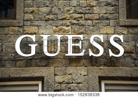 FLORENCE, ITALY - MAY 27, 2016: Detail of the Guess store in Florence Italy. Guess is American upscale clothing line brand founded at 1981 and have more than 480 shops worldwide.