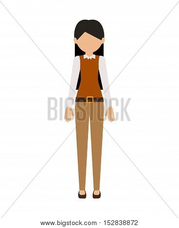 avatar female woman standing wearing executive clothes over white background. vector illustration