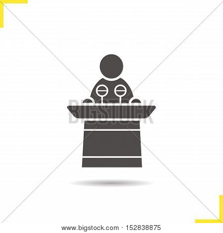 Politician icon. Drop shadow orator silhouette symbol. Speaker podium. Negative space. Vector isolated illustration