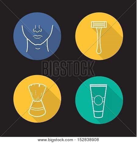 Shaving flat linear long shadow icons set. Man's face, shaving razor, brush and aftershave cream tube. Vector line symbols