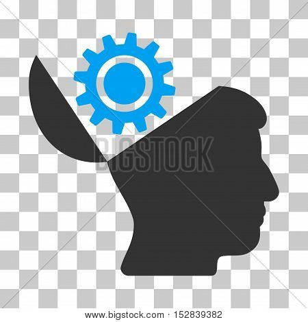 Blue And Gray Open Head Gear toolbar pictogram. Vector pictograph style is a flat bicolor symbol on chess transparent background.