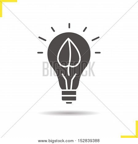 Eco energy concept icon. Drop shadow silhouette symbol. Lightbulb with plant leaf. Negative space. Vector isolated illustration