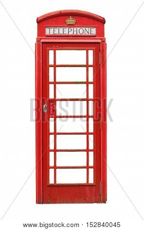 Isolated Vintage Traditional Red British Phone Box Or Booth On A White Background