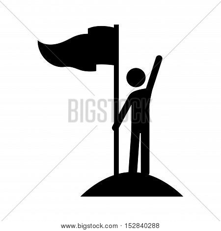 competition flag and avatar man with winner position silhouette over white background. vector illustration