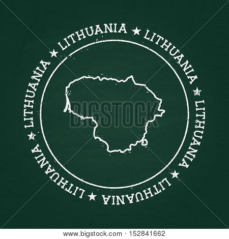 White Chalk Texture Rubber Seal With Republic Of Lithuania Map On A Green Blackboard. Grunge Rubber