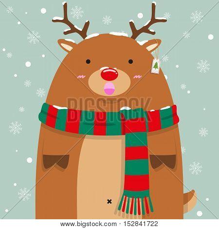 cute fat big reindeer Rudolf wear green and read pattern scarf on falling snow flake blue background