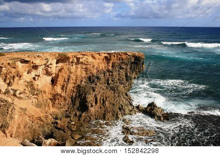 Sandstone bluffs at Shipwreck Coast, Kauai, Hawaii