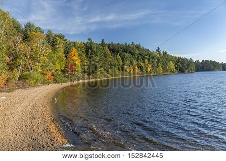 Sandy Shoreline Of A Lake In Autumn - Ontario, Canada