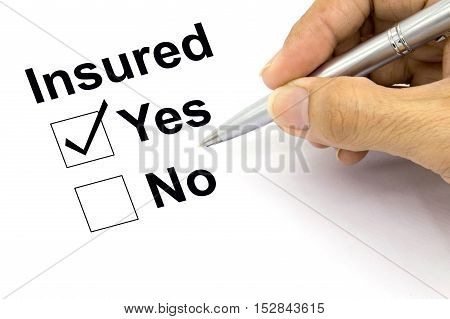 Man Insured yes check-box, yes, no, check, pen,