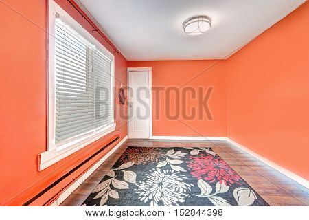 Empty Bright Red Room With Colorful Rug. House Interior