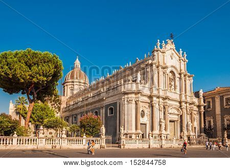 CATANIA ITALY - SEP 13 2015: Piazza Duomo or Cathedral Square with Cathedral of Santa Agatha or Catania duomo in Catania in Sicily Italy