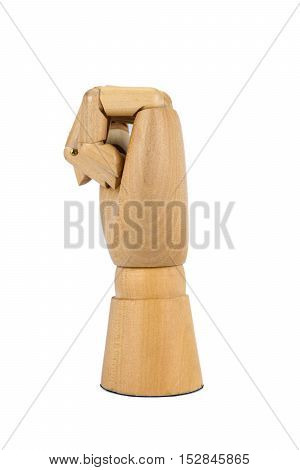 wooden hand stranglehold isolated on white background