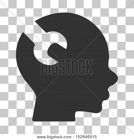 Gray Brain Wrench Tool toolbar pictogram. Vector pictogram style is a flat symbol on chess transparent background.