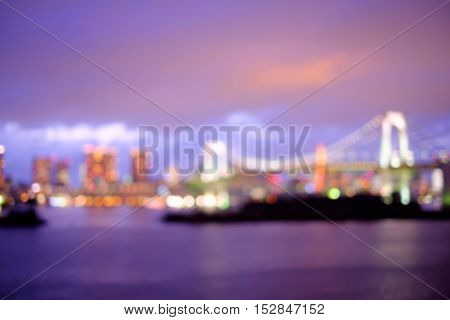 defocus bokeh blurred of beautiful Odaiba photo great for your design