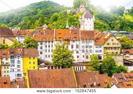 View on Baden old town with castle hill in Switzerland