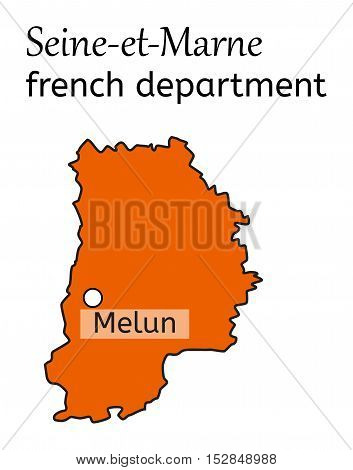 Seine-et-Marne french department map on white in vector