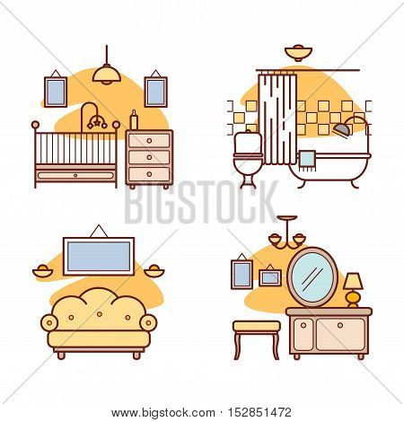 Home room icons. Living room, bedroom, bathroom for your design