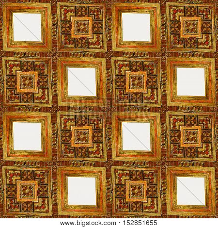 Wooden seamless gold, red and brown vintage pattern of squares. Wooden inlaid texture with kaleidoscopic ornamental pattern