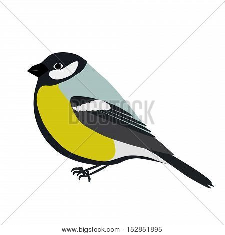 Cartoon titmouse vector illustration. Green and blue titmouse bird character in flat style.