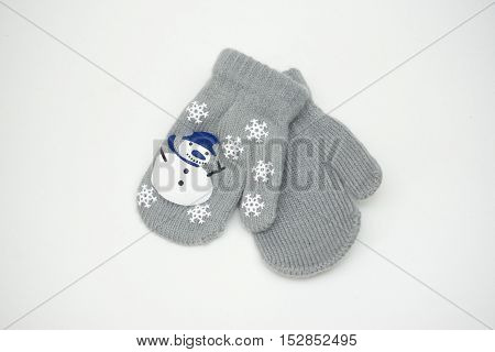 Children.s Mittens Little Gray On A White Background With A Snowman, Christmas Mittens