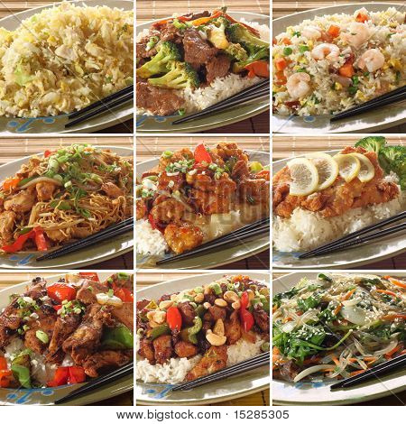 Collection of asian food dishes. Including sweet and sour chicken, beef and broccoli, chicken chow mein, Kung Pao chicken and more.
