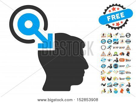 Brain Interface Plug-In icon with bonus 2017 new year design elements. Vector illustration style is flat iconic symbols, modern colors, rounded edges.
