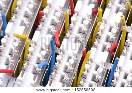 Wires IP Switchboard Panel Close Up, Telecomunnication Equipment