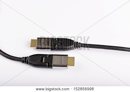 HDMI cable with gold connector on isolated white background