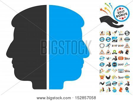 Dual Face pictograph with bonus 2017 new year graphic icons. Vector illustration style is flat iconic symbols, modern colors, rounded edges.